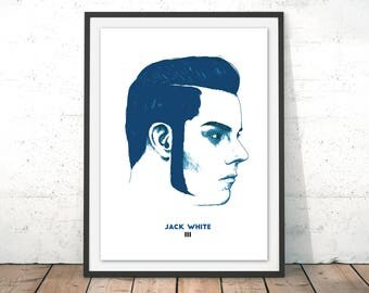 Jack White III Illustration Print In Blue - Third Man Records, Drawing, Art, Poster, Home Decor