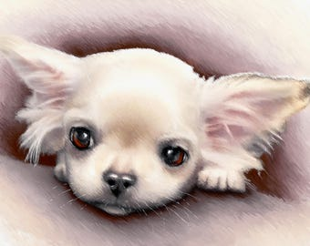 Chihuahua dog breed print on canvas