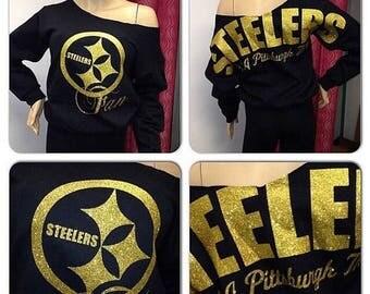 ON SALE Steelers off the shoulder sweatshirt | Pittsburgh Steelers Sweatshirt | Oversized print | Bling sweatshirt