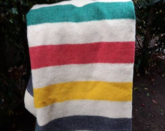 Original Vintage Simpson's 4 Point Blanket, All Wool, Made in England, Famous Nor-Wester Hudson Bay Style Blanket