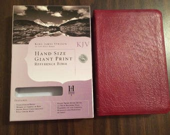 PERSONALIZED ** KJV Hand Size Giant Print Reference Bible - Burgundy Genuine Leather ** Custom Imprinted