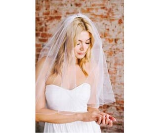 BEST PRICE! Elbow Length Pencil Edge Wedding Veil 1T Single Tier - Available in White