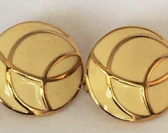 Monet 1980s cream Enamel and gold tone pierced earrings