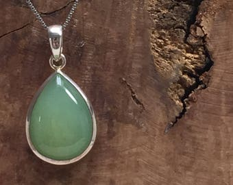 Tear shaped Sterling Silver Green Chalcedony Pendant