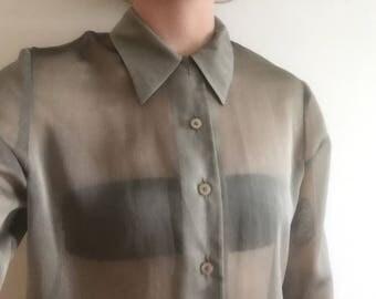 Vintage sheer green/olive blouse/ shirt, size 12.