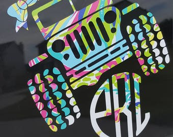 Jeep Decal, Lilly Pulitzer,  Vinyl, Vinyl Decal, Monogram Decal, Jeep, jeep wrangler, Jeep Monogram, Lilly Pulitzer, Gifts, Jeep Life