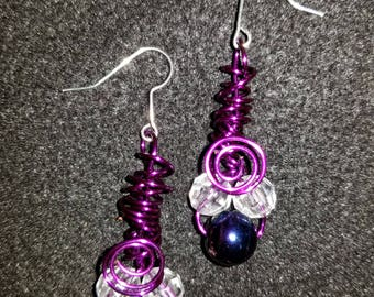 Purple Coiled Wire Iridescent Beads Dangle Drop Earrings