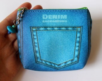 Zip Coin Purse, Coin Pouch, Zip Pouch, Make-Up Pouch, Jeans Print Zip Purse, Denim Print Coin Purse, Cute Coin Purse, Cosmetic Zip Purse