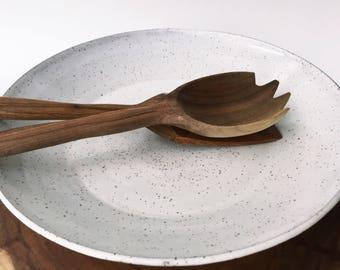 White Speckled Pottery Serving Platter, Fruit Bowl, Salad Bowl, Decorative Bowl, Large Ceramic Bowl, Farmhouse, Rustic, Modern
