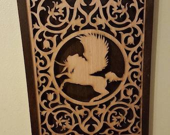 Pegasus Unicorn Shadow Box Wall Art- Handmade- Laser Cut