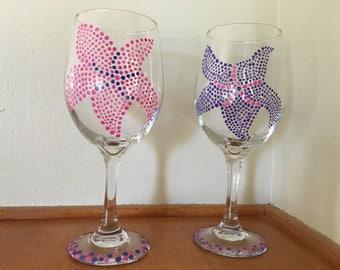 Hand Painted Starfish Wine Glasses