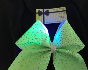 Neon Green glitter cheer bow with AB rhinestones and LED lights