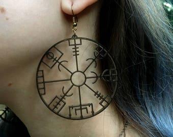 2 Waymark Charcoal Acrylic Stave Earrings