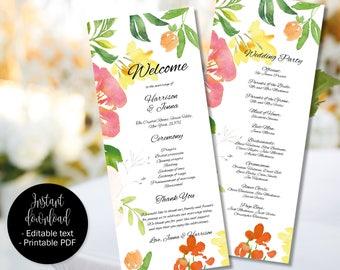 Wedding Day Program Template, Printable Wedding Program, Wedding Order of Service Text Editable PDF, Watercolor Floral Border 8 PROG-8