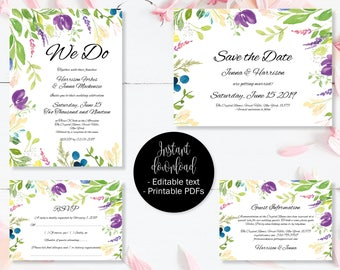 Wedding Invitation Template Set, Save the Date, Invite, RSVP, Guest Information, Editable Printable Wedding Templates, Border 9 SETA-9