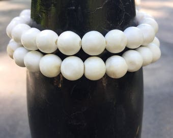 Double Wrap Style Conch Shell Bead  Bracelet