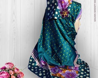 Beautiful floral and polkadot Square Hijab / scarf / head scarf