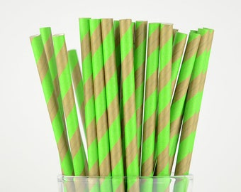 Green Brown Striped Paper Straws - Party Decor Supply - Cake Pop Sticks - Party Favor