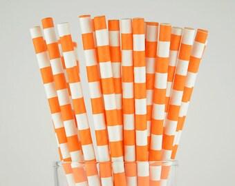 Orange Circle Paper Straws - Mason Jar Straws - Party Decor Supply - Cake Pop Sticks - Party Favor