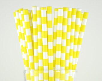 Yellow Circle Paper Straws - Mason Jar Straws - Party Decor Supply - Cake Pop Sticks - Party Favor