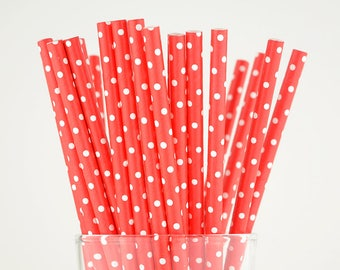 Red Dots Paper Straws - Mason Jar Straws - Party Decor Supply - Cake Pop Sticks - Party Favor