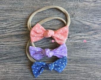 Pokadot Bows {Nylon Headbands}{Bows}{Baby Girl Acessories}{Hair Clip}{Headbands}{Hair Accessories}
