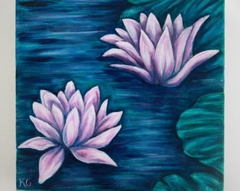 Water Lilies III - Original Oil Painting on Canvas, Small Painting, Nature,  Landscape,  Flowers,  Blue, Green, and Pink, Small Canvas