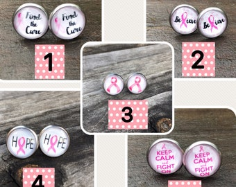 Breast Cancer Awareness Stainless Steel Stud earrings, Breast Cancer Awarness gift, Breast Cancer Awareness fighter gift