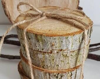 Coasters,rustic set of 4 tea coasters, real wood coasters, drink mats,woodland coasters, natural, new home gift