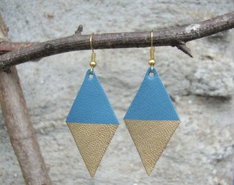 Made of genuine leather, blue and Gold Diamond Earrings