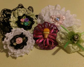 Lot of 5 Hair bows barrettes  black white purple pink green