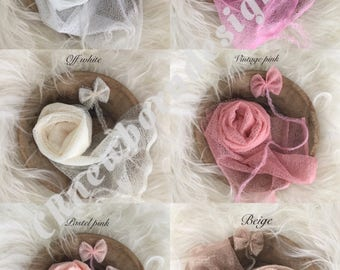 Newbornfotografie wraps cheesecloth with mohair tieback