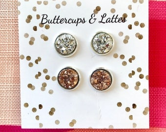 Silver and Rose Gold Druzy Duo Set 10mm