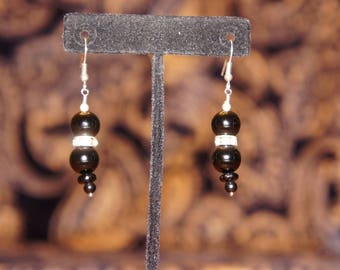 Black and silver bead dangle earrings