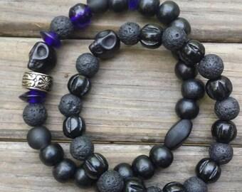 Men's bracelets with blue accents
