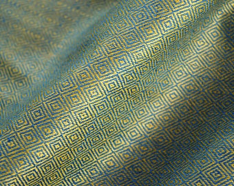 Blue and gold handwoven silk in diamond weave, 100% natural silk in diamond twill, Viking fabric, Vendel fabric, historical textiles