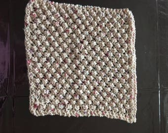 100% cotton, hand knit dish clothes.  Nubby knit for scrubbing.