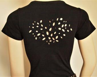 Cut Out T shirt,Cut Tee, Heart T shirt, Black Hand Cut T shirt