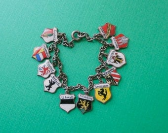 German Travel Shield Bracelet - Berlin Dusseldorf Munchen Stuttgart 835 Silver