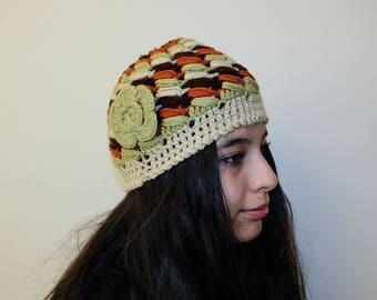 Green Knit Hat. Womens Hat. Green Hat. Green Beret. Green Beanie. Green Winter Hat