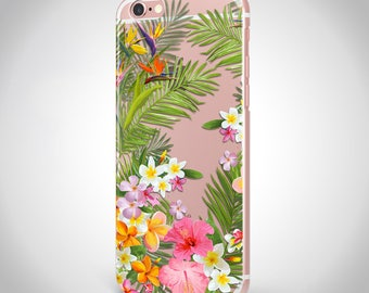 Tropical Flowers iPhone case, Clear iPhone 7 case tropical flowers, Flowers iPhone 6 tropical case, tropical iPhone case, clear case