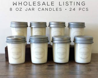 WHOLESALE CANDLES | 24 pcs | Mason Jar Candles, 8 oz Soy Candle, Soy Wax Candles, Scented Candles, Bulk Candles, Modern Farmhouse Decor