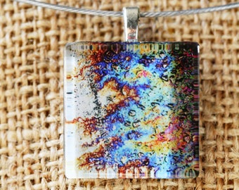 Oil photo necklace. Original abstract fine art jewelry. Glass tile pendant on wire necklace.