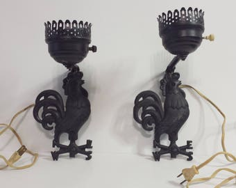 Vintage  Black Cast Iron Rooster Wall Sconce Lights  (Pair)