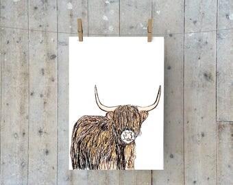 Highland Cow A4 Print