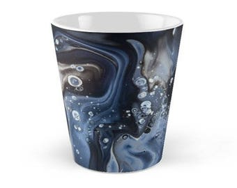 Original Art Print Coffee Tea Mug Cup - Black Bubbles. Custom Order, Pre Order.