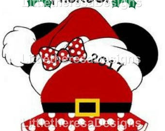 Minnie Christmas Santa Head Iron On Transfer