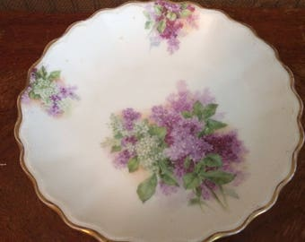 Handpainted China Compote with Lilacs