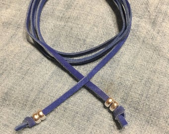 Short Blue Suede Choker