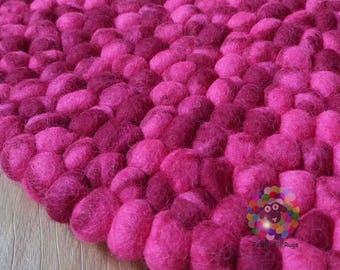 Round Felt Ball Rug. Tie Dye  pom pom, Double Pink Tie Dye stone Pebble wool Nursery Rug .100 % wool Nepal Rug (Free Shipping)